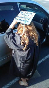 Christina Arredondo getting into a car with her gown and graduation cap