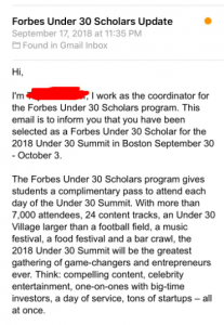 Email from Forbes Under 30 Scholars explaining recipient has been selected