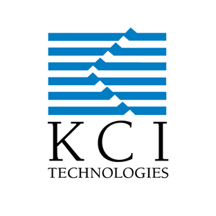 KCI Technologies logo blue graphic with black text on white background