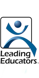 Leading educators logo blue graphic with black text on white background