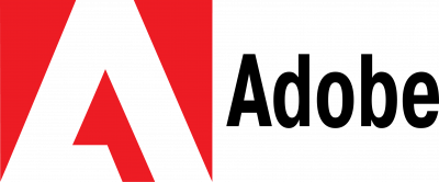 Adobe logo red trademark with black text on the right