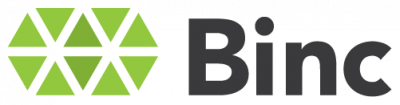 Binc logo black with green diamonds on transparent background
