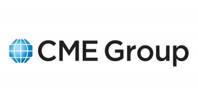 CME Group logo with blue graphic and black text on white background