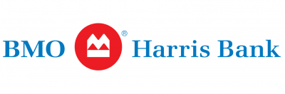 BMO Harris logo. Blue letters on white background