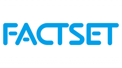 FactSet logo. Blue text on white background