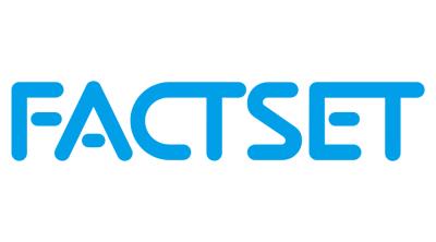 FactSet logo. Blue text on white background