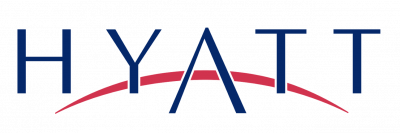 Hyatt logo. Blue text on white background