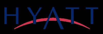 Hyatt logo. Blue text on white background