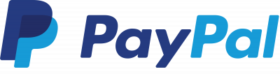 PayPal logo. Blue letters on white text