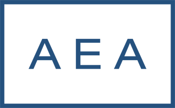 "Logo for AEA Investors: The letters ""AEA"" in navy on a white background surrounded by a navy blue rectangle"