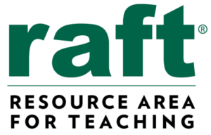 RAFT logo in lowercase green font