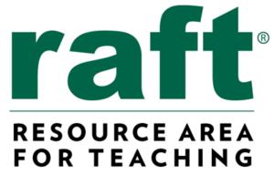 RAFT logo in lowercase green font