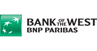 Bank of the West logo (four white stars in green square) with BNP Paribas subscript