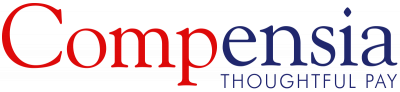 "Red and blue Compensia logo captioned with ""thoughtful pay"" slogan"