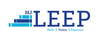 Blue NJ LEEP logo with three stacked books