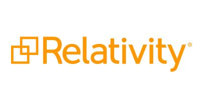Relativity logo; two overlapping squares in light orange