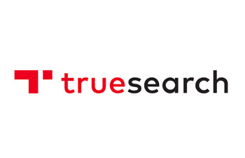 "True search logo; Red stylized ""t"""